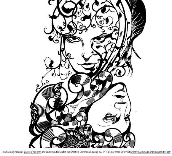 A free for download illustration featuring a creative abstract theme of elements. This is a lineart using only one solid color. (c) Vector-resource.com