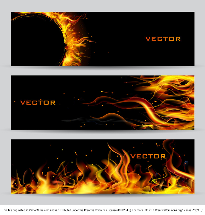 Match your hot discounts with the new Fire Banners Vector Set and get noticed! This set of fire banner vectors contains three different designs so that you'll be albe to choose what fits your needs best. Take advantage of these great fire banner vectors and get them while you can!