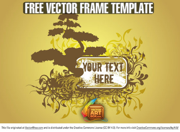 Free vector frame in a floral style design with a bonsai tree and roots as decor silhouettes also. Grunge splashes, florals, leaves, swirls and curves is decorate this art free vector.  Free for commercial use.