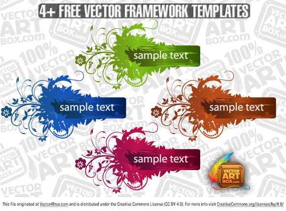 You can free download new one vector framework template. Grunge elements, floral leaves, buds, swirls and curves are decorated this frame.  Free for commercial use.