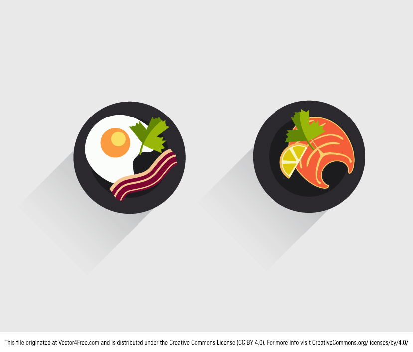 Anyone hungry? Use these new Flat Food Icon Vectors in your next food related project. In this food icon vector pack are eggs and bacon as well as a beautiful cut of meat. Enjoy!