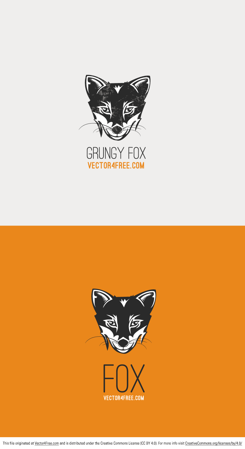 Vector Fox was crafted with care by the team of Vector4free.com in two versions: simple and grunge. You can use it as a logo. 