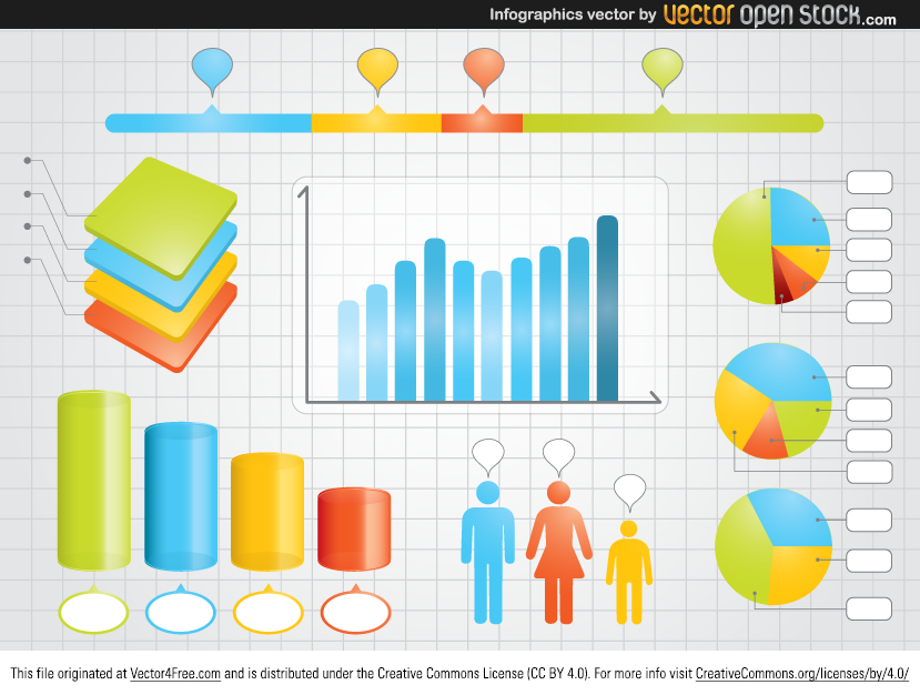 Here we have free infographics vector file that can be used for visual representations of information, data or knowledge intended to present complex information quickly and clearly by such elements as: graphs, pie graph, grid, and ...