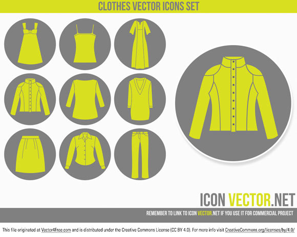 9 Clothes Icons in vector format, you can use them for commercial purpose but link to http://iconvector.net is required.