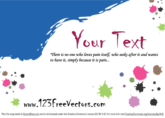 Free Colorful Paint Stains Greeting Card Vector by www.123FreeVectors.com