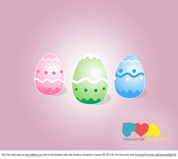 A set of 3 colorful free Easter egg vector graphics.