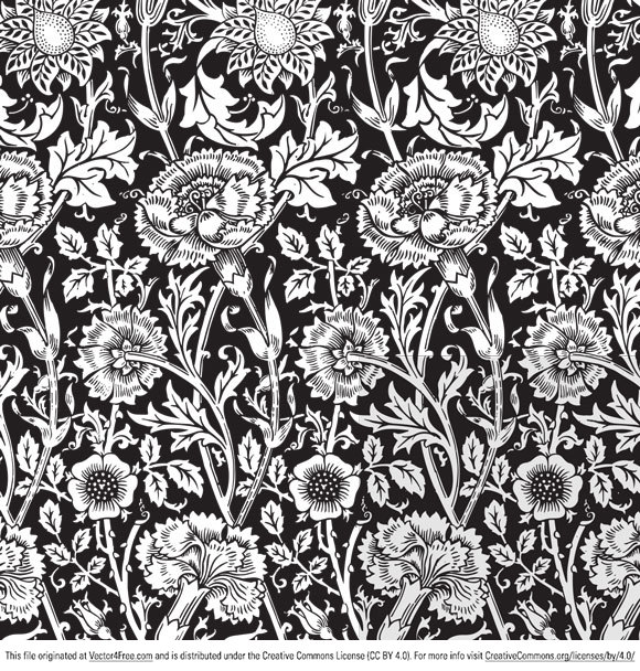 Free floral vector pattern you can use it for both commercial and personal purpose. This free vector pattern is a simple black and white image so that you can play around with colors!