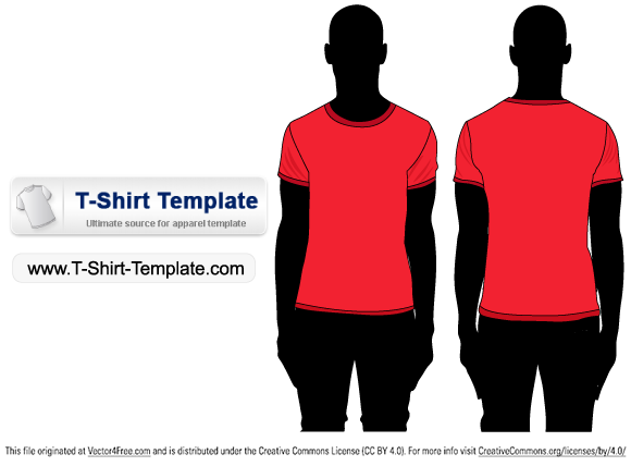 Free Short sleeve T-shirt Template Illustrator - Free Vector Art