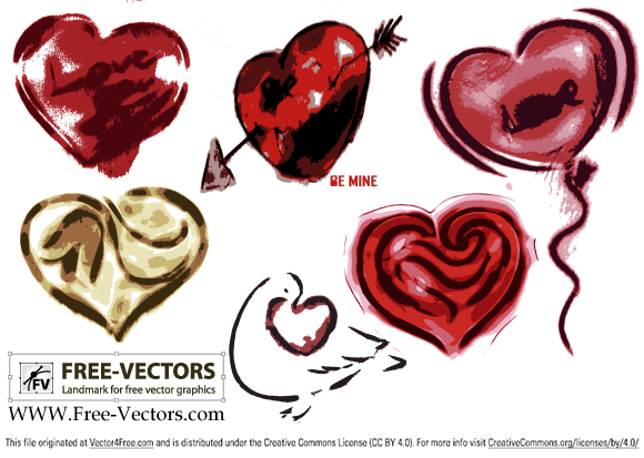 Free valentine's love heart vector set-2 by www.free-vectors.com