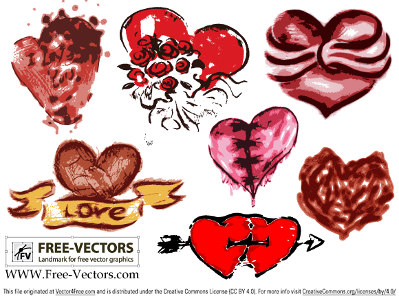 Free valentine's love heart vector set-3 by www.free-vectors.com