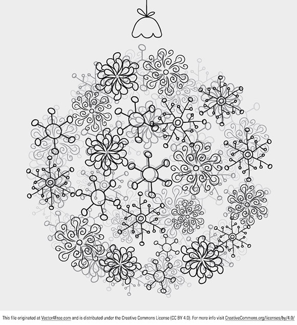 Today's free vector is a beautiful Christmas ball made from tiny snowflakes. Feel free to use it in commercial and non-commercial projects, personal websites and printed work, as long as it's a part of a larger design. Please do not sell it, redistribute it yourself, claim it as your own or give it as a bonus item to boost sales for your own products. Download it now!