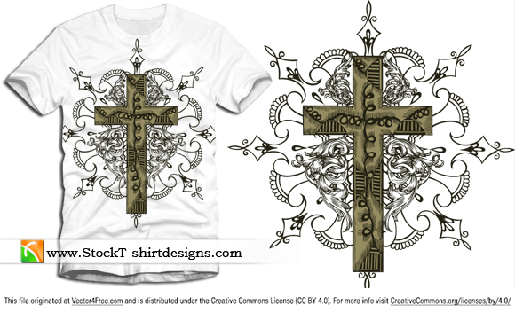 Free vector cross t-shirt design graphics with floral ornament. Free vector T-shirt designs by www.StockT-shirtDesigns.com