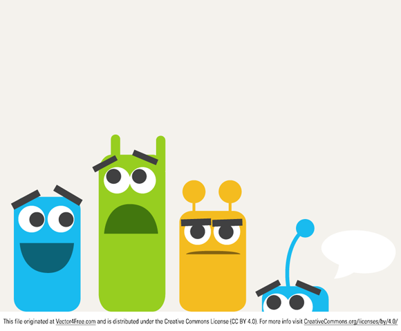 Today's free vector is an illustration with four colorful monsters, drawn from simple graphic shapes. Feel free to use it commercial and non-commercial projects, personal websites and printed work, as long as it's a part of a larger design.