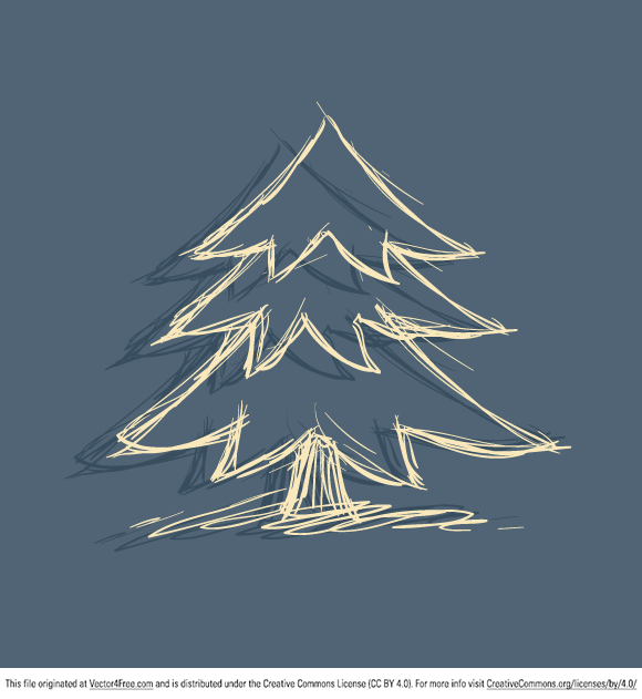 "Today's freebie is a doodled Christmas tree with a vector ""drop shadow"" effect. Yes, the default effects in Illustrator are raster. Feel free to use it in commercial and non-commercial projects, personal websites and printed work, as long as it's a part of a larger design. Please do not sell it, redistribute it yourself, claim it as your own or give it as a bonus item to boost sales for your own products. Download it now!"