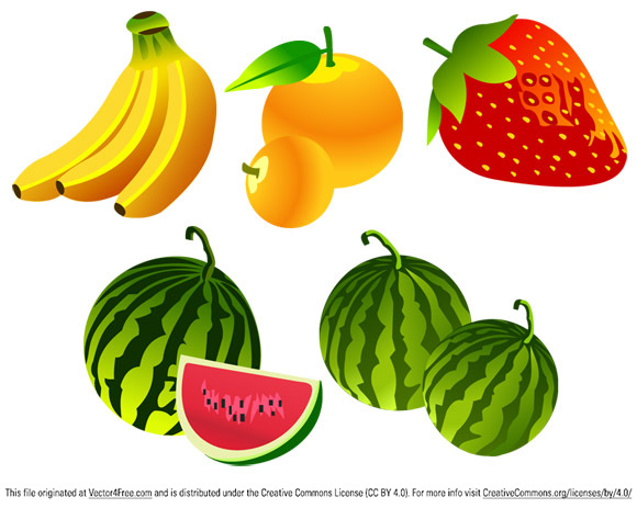 5 Beautiful Free Vector Fruit Icons in this set, design by vector-finder.com, Format:AI strawberries Bananas watermelon