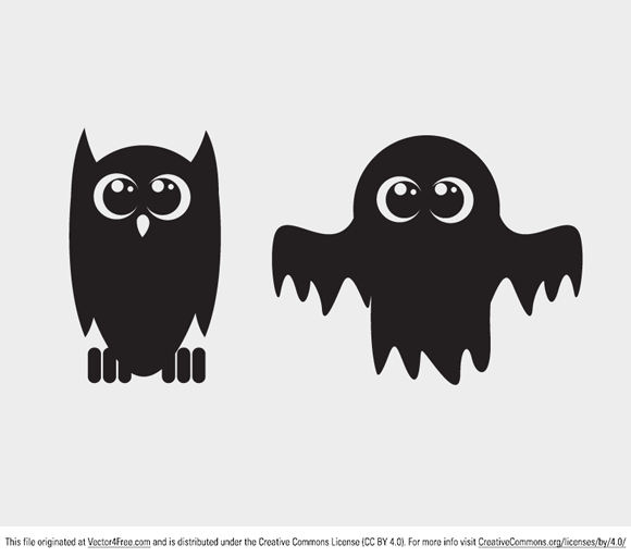 Today's free vector is a set of two beautiful Halloween elements: an own and a ghost. Feel free to use it in commercial and non-commercial projects, personal websites and printed work, as long as it's a part of a larger design.