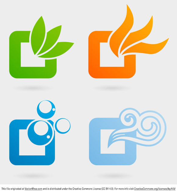 Today's free vector is a set of four logos representing each primordial element: earth, fire, water and air. Feel free to use it in commercial and non-commercial projects, personal websites and printed work, as long as it's a part of a larger design.