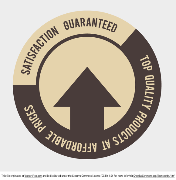 """Today's free vector is a """"Satisfaction Guaranteed"""" stamp. Download and enjoy, your satisfaction is guaranteed! Feel free to use it commercial and non-commercial projects, personal websites and printed work, as long as it's a part of a larger design."""