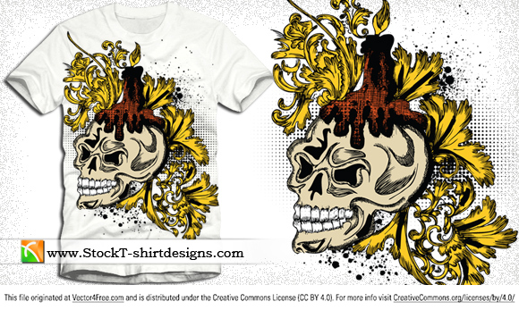 Free vector skull and floral t-shirt design. Free vector T-shirt design by www.StockT-shirtDesigns.com