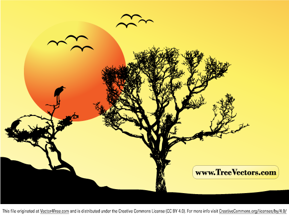 Free vector sunset vector tree background illustration with tree and flying birds silhouettes. Free tree vector image by www.TreeVectors.com.
