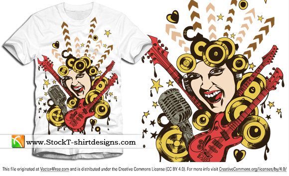Free vector apparel music t-shirt design with singing girl, guitar and microphone. Free vector T-shirt designs by www.StockT-shirtDesigns.com