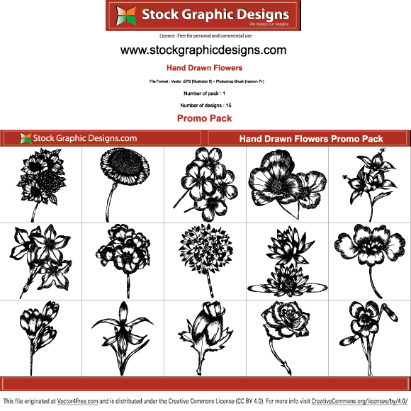 Hand drawn flowers free vector pack by www.stockgraphicdesigns.com