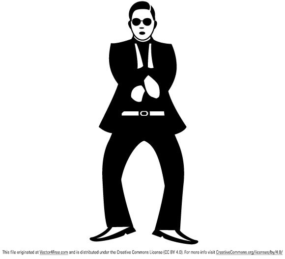 Gangnam style dance move vector illustration.