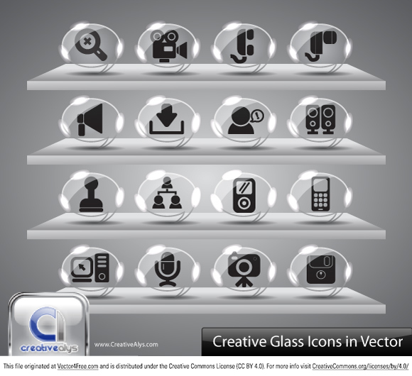 Download this Creative Glass Icons Vector for free and include it in your Icon bank.