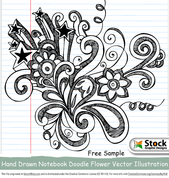 Free vector sample - Hand drawn doodles flowers vector illustration on notebook paper background with Png images and Photoshop brushes set-1 . Check Out Now! Royalty Free Stock Vector Images - Illustrations - Photoshop Brushes at www.StockGraphicDesigns.com