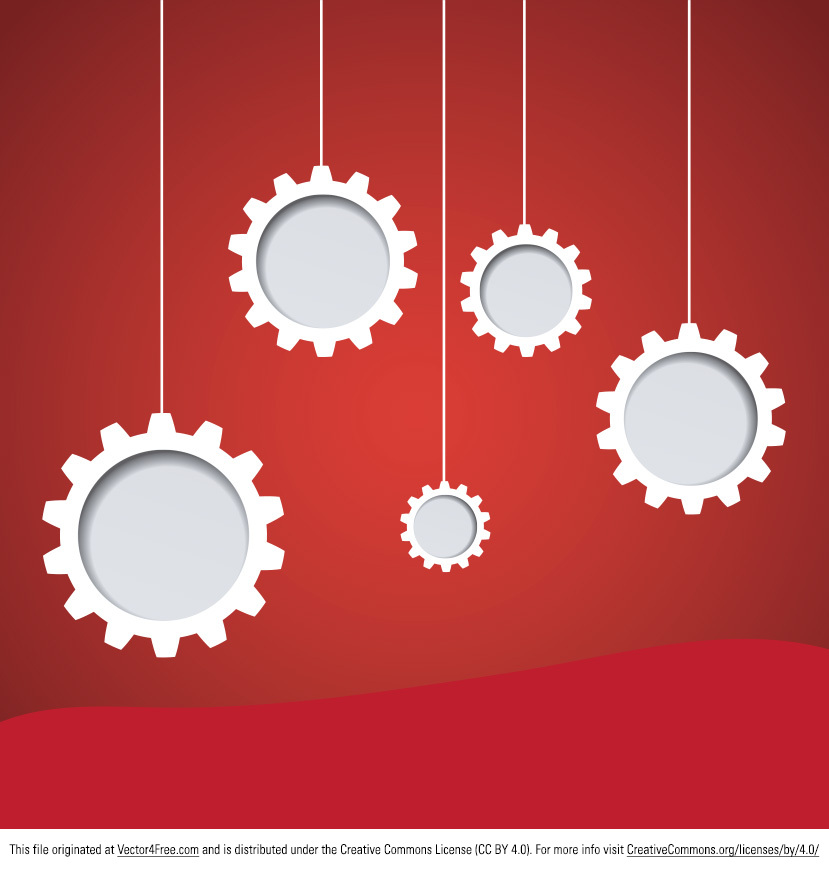 Start working with the new Hanging Gear Vector. White gears on a red background make this hanging gear vector ideal for being used in so many of your projects. You will just love the looks of the new free hanging gear vector.