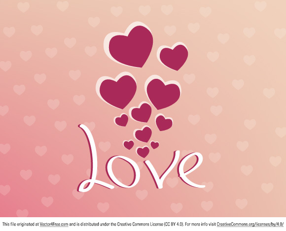 Red hearts, love for valentines day vector free