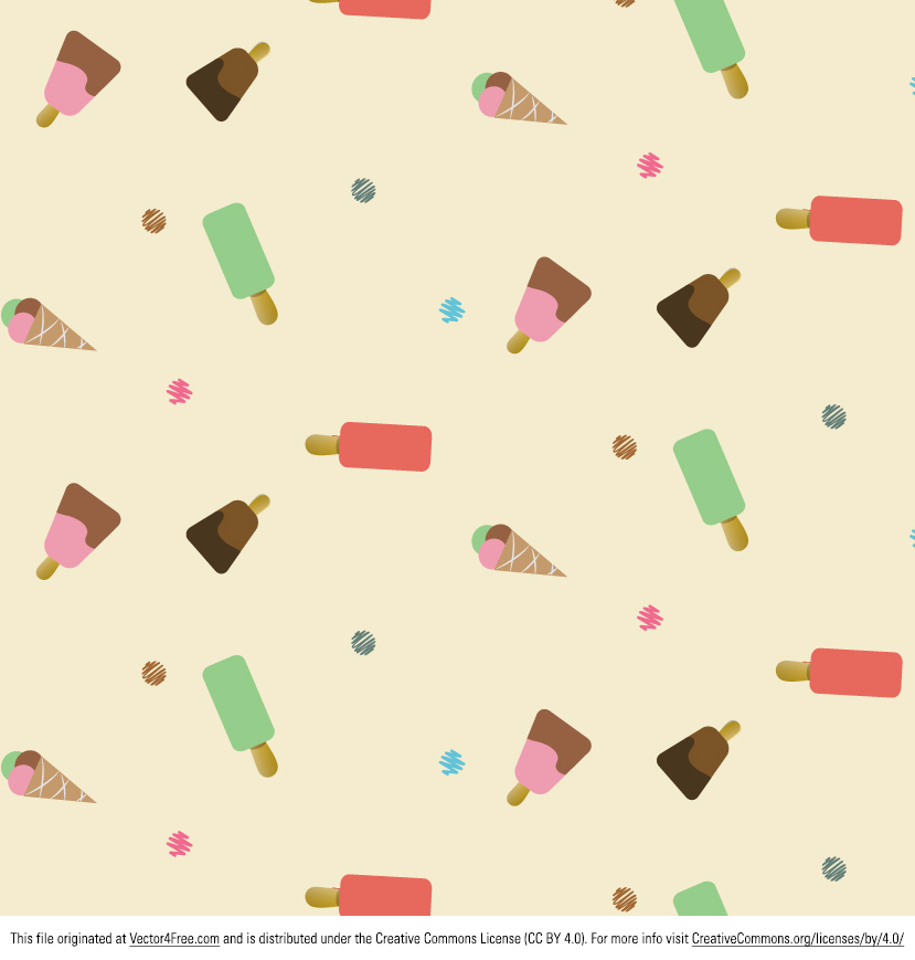 Free Ice Cream Vector Pattern.