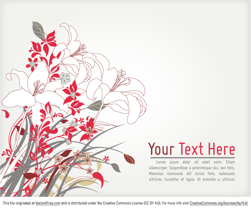 Lily background vector graphic also works as a great invitation template or ad banner. Download this delicate floral illustration in Ai format