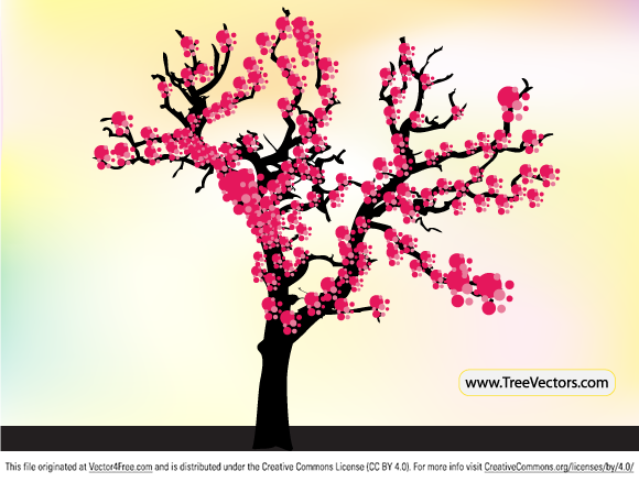 Japanese pink cherry blossom tree vector image by www.TreeVectors.com.
