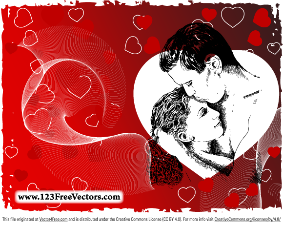 Love Couple Free Vector Image. Free vector design by www.123FreeVectors.com