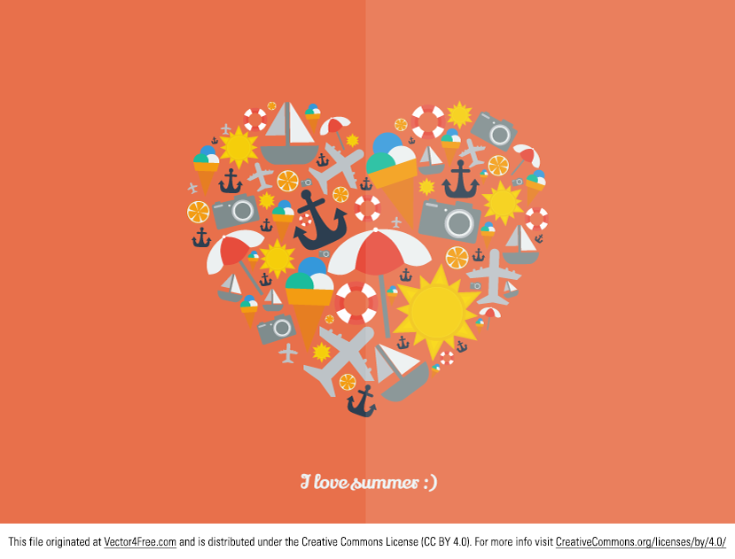 Today we share with you I Love Summer vector graphic. This .AI file is based on the shapes from previous summer icons pack (ice cream, airplane, sun, boat, orange lifebuoy, beach umbrella, camera and anchor). Hope you like it.