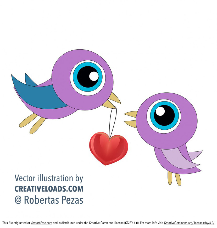Here's a great and super cute free vector illustration of two love birds for Valentine's day. Happy Valentine's Day to everyone!