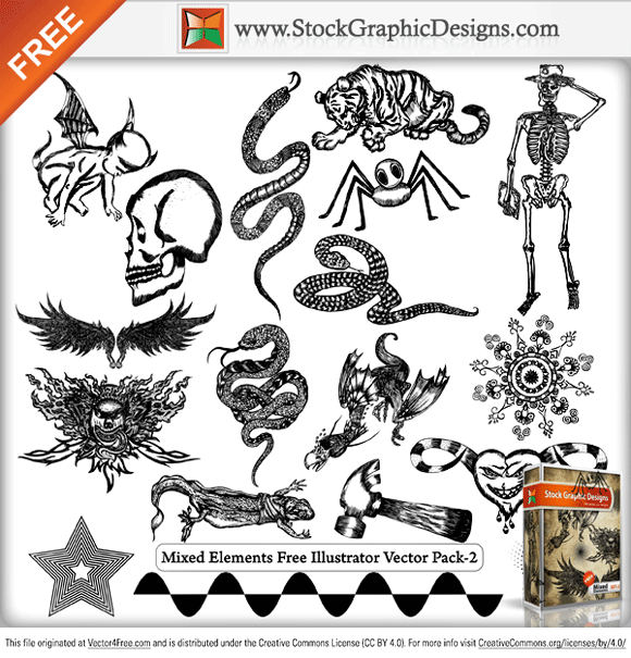 Mixed Elements Free Illustrator vector and Photoshop Brush Pack from www.StockGraphicDesigns.com. Included in the pack are Tiger, snake, cupid, halftone, ant, decorative design elements, hammer, human skull and skeleton.