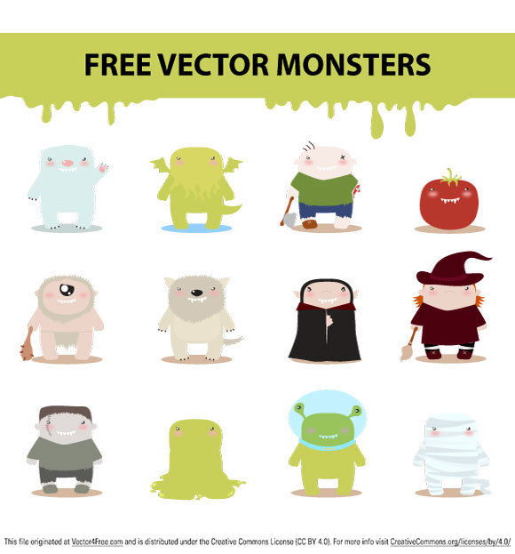 Cool pack of free vector monsters like: mummy, witch, zombie, caveman, alien, dracula... in the  ai. format. If you download this free vector file visit harridan's site and leave comment or fave.