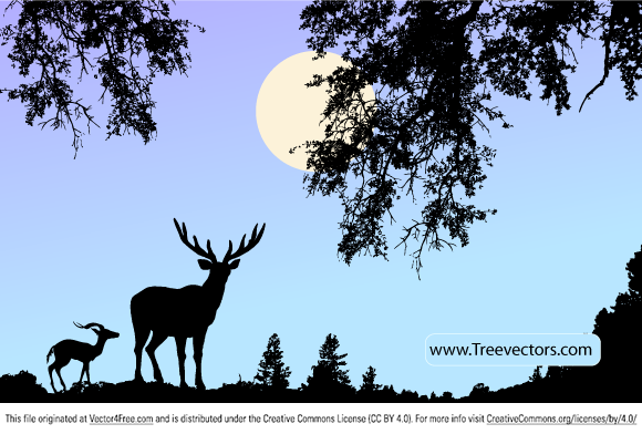 Deer Wildlife Animals in Nature Scene Vector Wallpaper Design by www.TreeVectors.com
