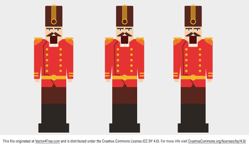 Introducing my new Free Nutcracker Vector! This nutcracker vector has the classic Christmas nutcracker man in uniform, ready to crack all your nuts. Use this free vector nutcracker in your next project!