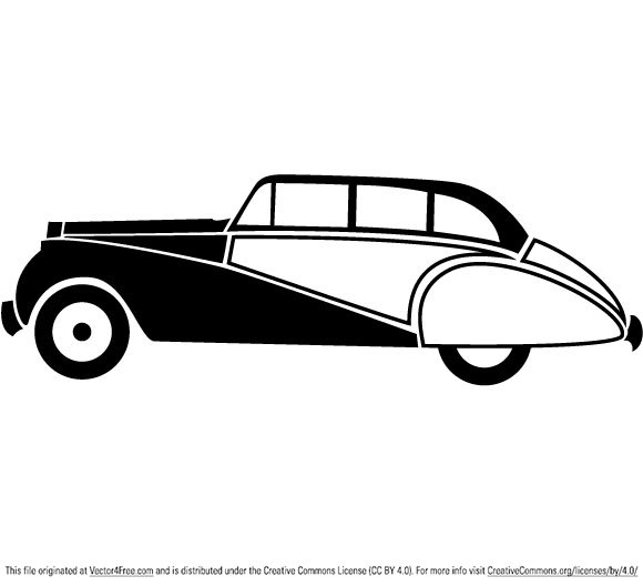 Vintage car outline vector 6