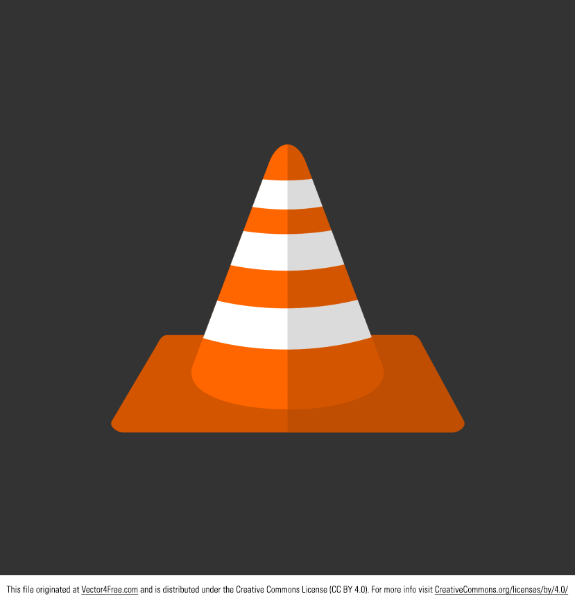 Orange Traffic Cone. Vector Flat Icon