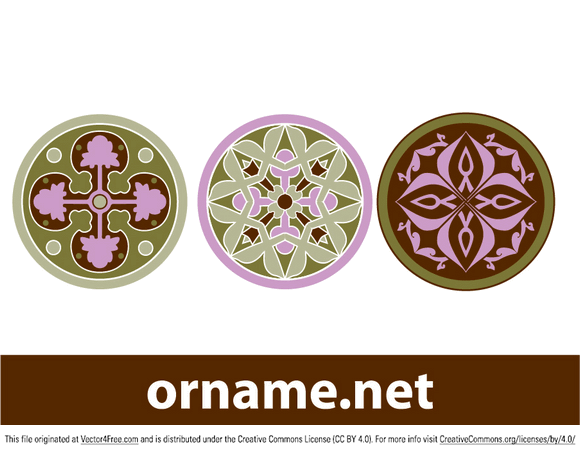 Three round ornament from different styles