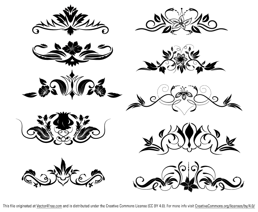 Great pack of 10 ornamental vector dividers with floral elements free ...