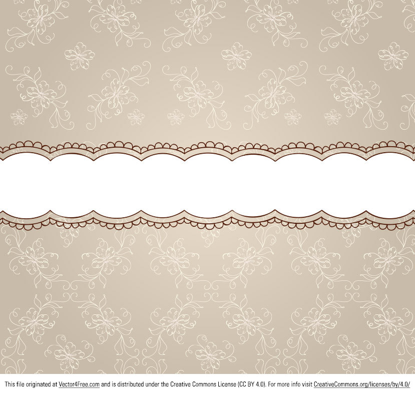 Check out my new Beige Floral Pattern Ribbon Background Vector! This floral ribbon background vector could be used for invitations, fall cards, and scrapbooking. Plus, it's free!