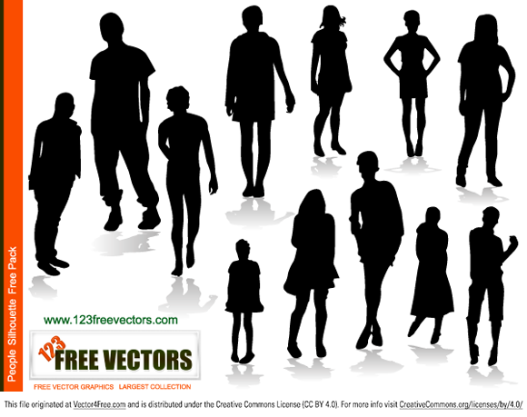 People silhouettes free vector by www.123freevectors.com
