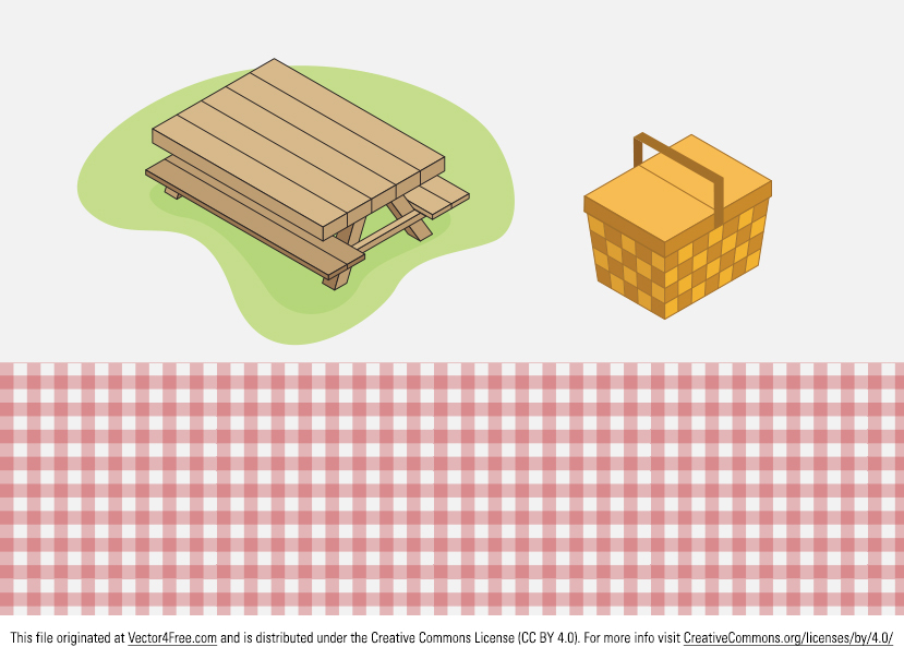 Here's a fun Picnic Vector Pack to download now that the weather is nice and everyone wants to be outside and at the parks. Included is a picnic table and a basket vector.