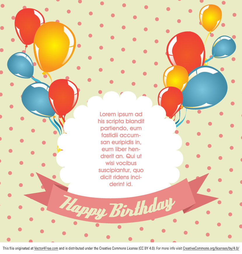 Free Polka Dot Birthday Card Vector