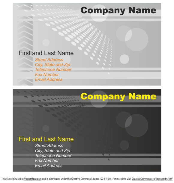 Business card collection, grey and yellow, vector. Free business card template